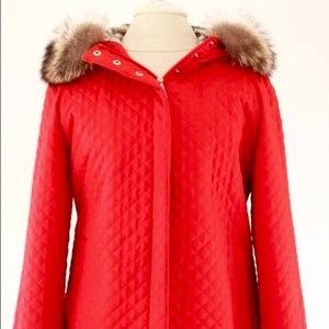 Burberry Red Quilted Coat